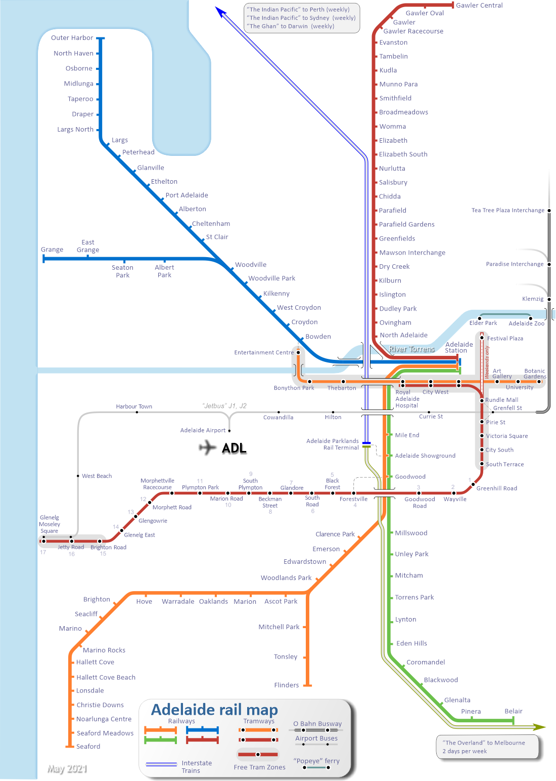 Adelaide Train Map