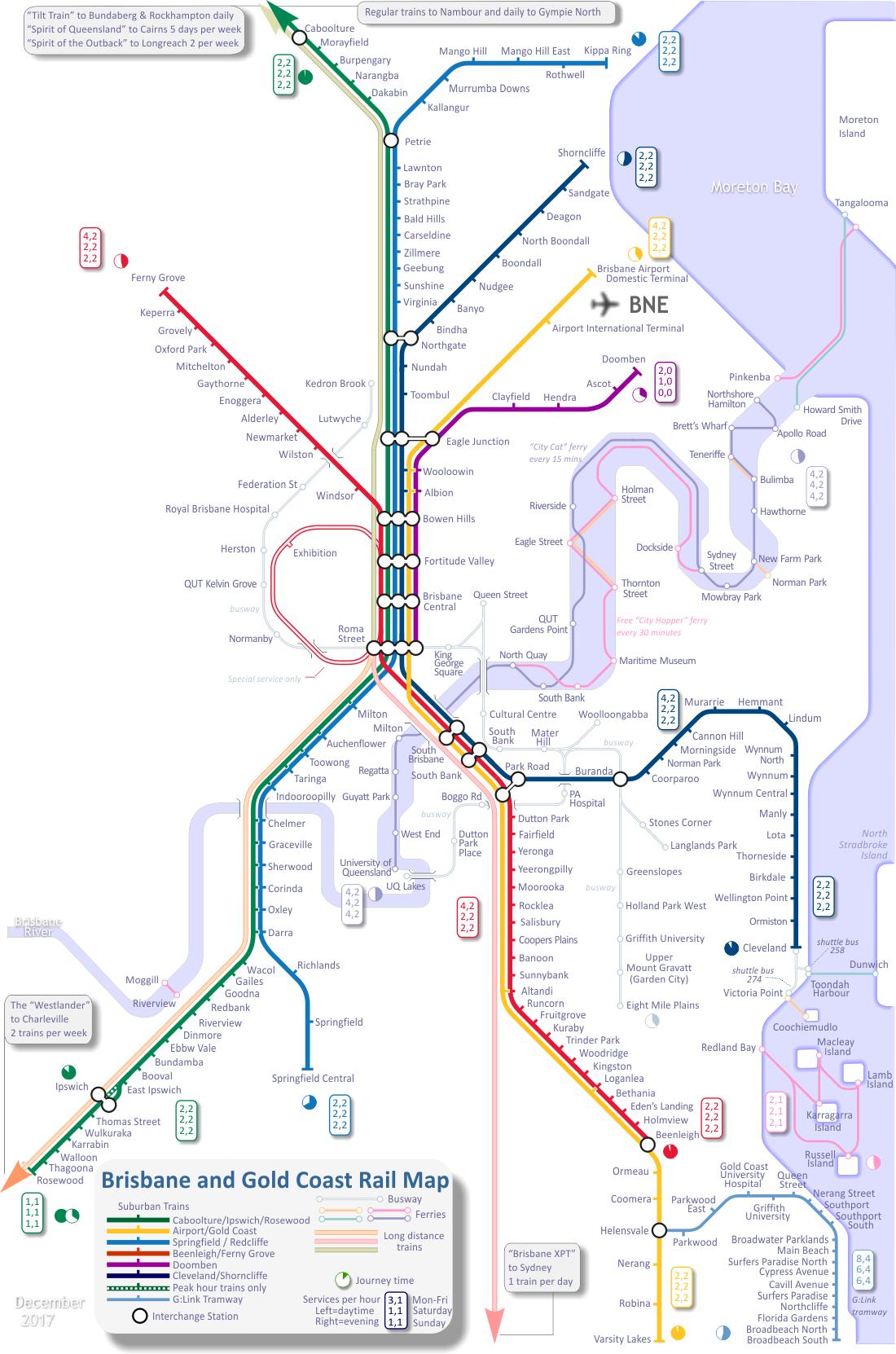 Train Map For Brisbane And Gold Coast Australia Mapporn